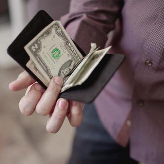 Мужской зажим для денег из натуральной кожи_черный