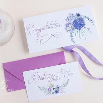 """Gift Box """"Sofia"""" Цвет 2 (сиреневый) - открытка в коробочке"""