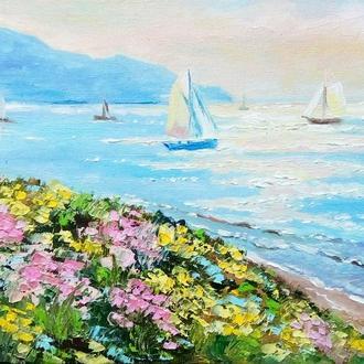 """Картина-миниатюра маслом море """"Парусники на рассвете"""" голубой розовый"""