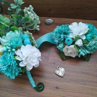 Комплект бутоньерок Тиффани Бутоньерка для жениха, свидетеля Бутоньерка на руку для подружки невесты