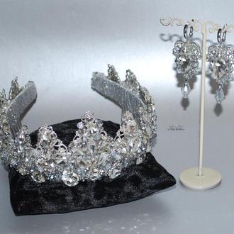 Корона и серьги. Свадебный набор