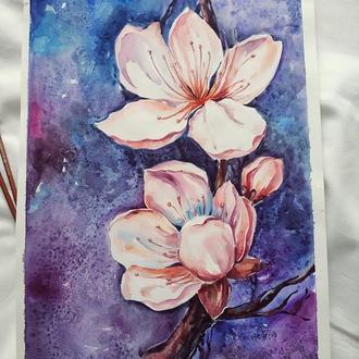"""картина """"Яблуневий цвіт"""" акварель"""