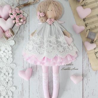 Нежна текстильная кукла- ангел в стиле Тильда