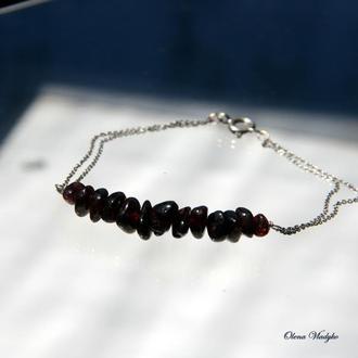 Серебряный браслет с гранатом, браслет с натуральными камнями, серебряный браслет женский