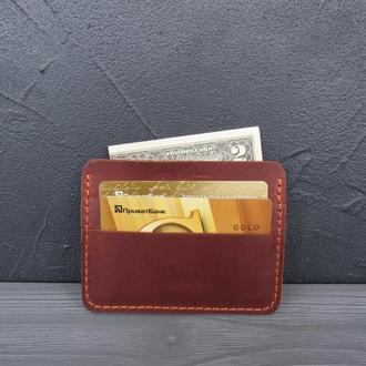 Картхолдер кожаный, мини-кошелек из натуральной кожи _коричневый_180