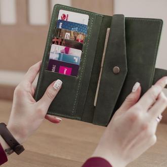 Большой женский кожаный кошелек Milana_зеленый, подарок жене