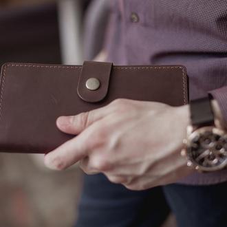 Мужское большое портмоне из натуральной кожи_темный шоколад, большой мужской кожаный кошелек