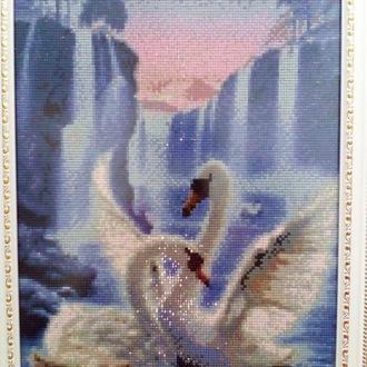 """Алмазная вышивка """"Лебеди у водопада"""""""