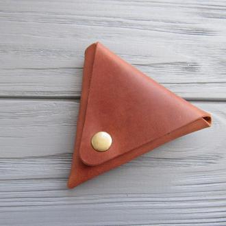 Маленький кожаный кошелек для монет_коричневый