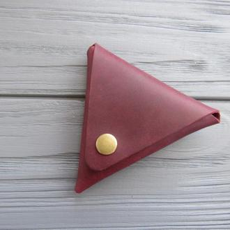 Маленький кожаный  кошелек для монет_марсала