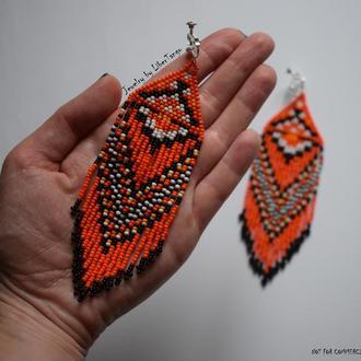 Серьги из бисера, длинные серьги, оранжевые серьги