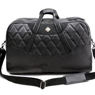 Мужская чёрная дорожная сумка из натуральной кожи Sport Bag- tb001