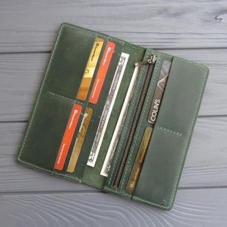 Кожаное портмоне Vilena, портмоне из натуральной кожи_зеленый, подарок женщине