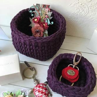 Набор корзинок из трикотажной пряжи
