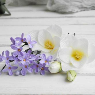 Шпильки для волос с цветами фрезии и сирени