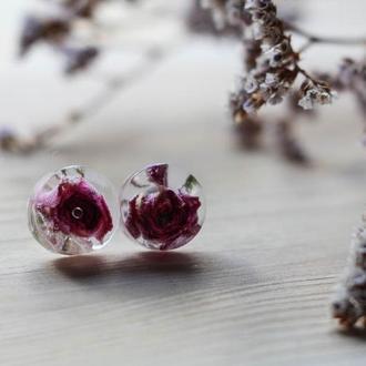 Серьги-гвоздики из эпоксидной смолы и бутонов роз