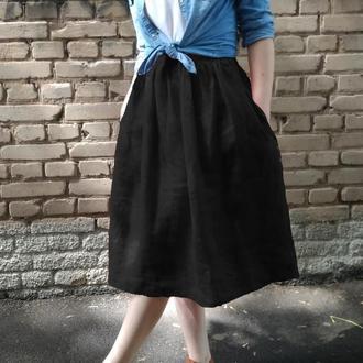 Классическая черная льняная пышная праздничная юбка c карманами лён