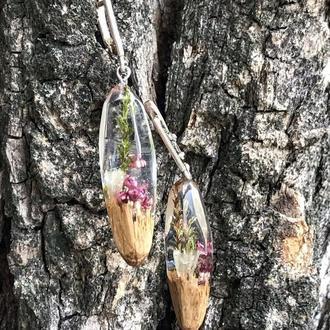 Серьги с сухоцветами из смолы и древесины дуба, подарок для девушек, сухоцветы в смоле