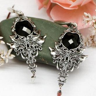 Срібні сережки Феечки з натуральними чорними агатами