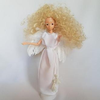 Кукла ангел с крыльями из натуральных перьев