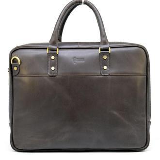 Мужская кожаная сумка-портфель тонкая, коричневая TARWA TC-4766-4lx