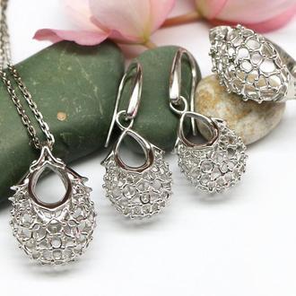 Комплект серебряных украшений Ягодка