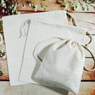Эко торба для продуктов или вещей, еко мешочек, набор хлопковых мешочков, еко торбинка