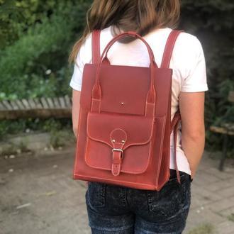 Большой красный кожаный рюкзак сумка