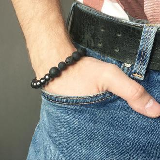 Мужской браслет из вулканической лавы и гематита (модель № 203) JK jewelry