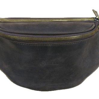 Стильная сумка на пояс бренда TARWA RC-3036-4lx в коричневой коже Крейзи Хорс