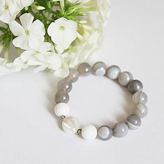 Женский браслет из агата, браслет с перламутром, украшение из натуральных камней