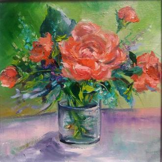 Картина маслом 20×20 см. живопись Букет маленьких розочек