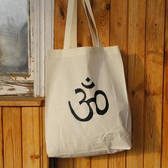 Хлопковая эко сумка с  росписью, Принт ОМ