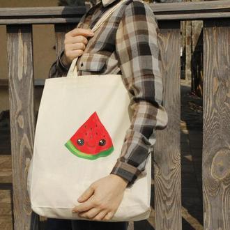 Хлопковая эко сумка с  росписью, Принт арбуз
