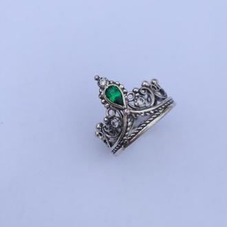 Кольцо Корона с цирконами. Серебро