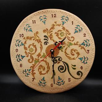 Часы керамические настенные с орнаментом