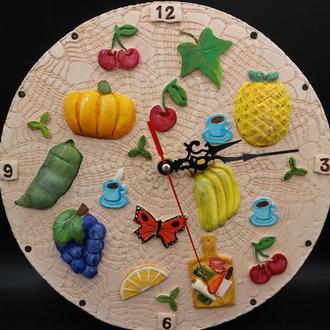 """Часы керамические настольные, настенные """"Фрукты и овощи"""""""