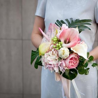 Тропический свадебный букет невесты