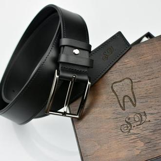 Мужской Ремень 4см, Ремень Morison atelier, Чёрный кожаный ремень, Ремень подарок мужчине