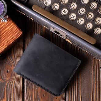 Кожаный мужской кошелек Бифолд в черном цвете, мужской кошелек на подарок | 1_0037M_BEF