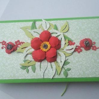 Конверт для денег Красный цветок