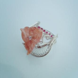 Кольцо с розовым кварцем. Серебро