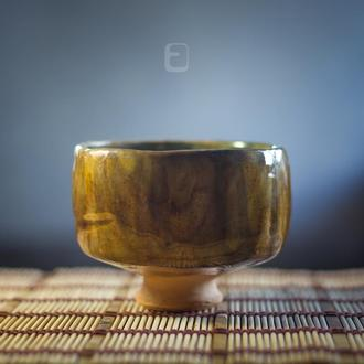 """Work no. 377W — chawan """"Golden Brown.Fis6.L"""", teabowl in japanese style"""