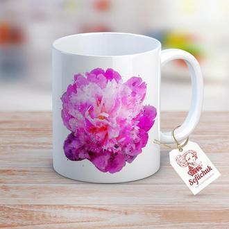 Цветок пион - дизайнерская чашка с акварельным рисунком
