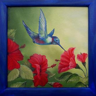 """"""" Колибри 2 """" Миниатюрная живопись размером 20 х 20 см, из серии """" цветы и птицы"""""""