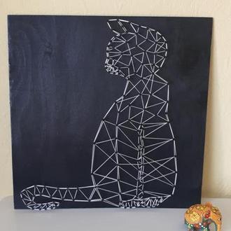 """Картина """"Кот"""" в стиле string art"""