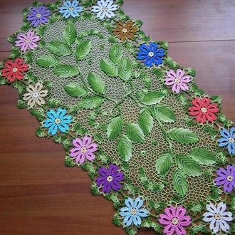 Салфетка-дорожка декоративная разноцветная. Ирландское кружево
