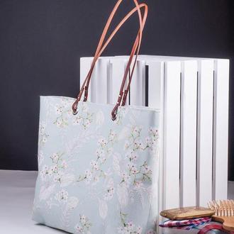 Сумка из канваса с кожаными ручками и водоотталкивающей подкладкой в зеленом цвете | 1_0048_BRN