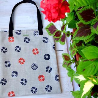 Сумка для покупок с квадратами, эко сумка, торба, пляжная сумка, сумка шоппер 09
