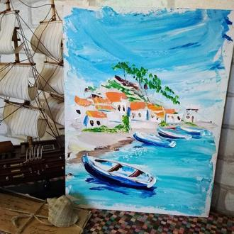 "Картина маслом ""Побережье Греции"""